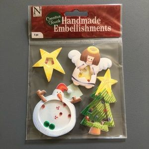 Christmas Tree Snowman Angel Scrapbook Sticker NWT